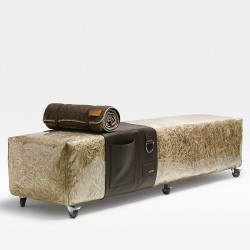 Straw and leather/skin bench